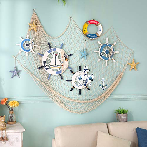king do way 79inch x 59inch Fishing Nets with Sea Shells and Anchor Decorative Background Wall Bar for Home Decoration (White)