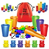 Rainbow Counting Bears With Matching Sorting Cups 150 Pcs Set JUMBO PACK + FREE Linking Cubes + FREE Counting Chips + FREE Storage Bag | STEM Educational Gift Toddler, Pre-School Learning Counting Toy