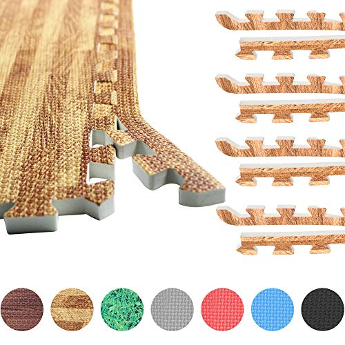GORILLA SPORTS® 8 Schutzmatten-Endstücke Schaumstoff – Bodenmatten-Randstücke mit 60 cm-Länge + 1,2 cm-Dicke in Heller Holzoptik