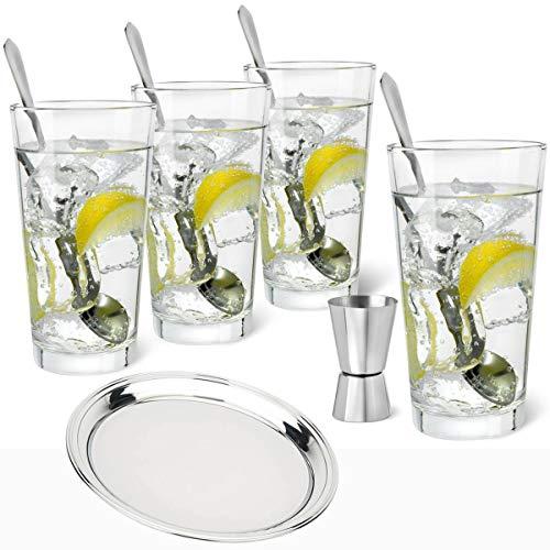 Bredemeijer Gin Tonic Set met glazen 9-delig met dienblad roestvrij staal rond Ø 35 cm