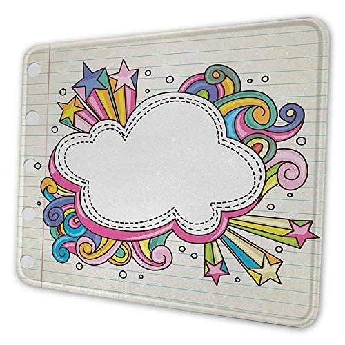 N\A Doodle artístico Alfombrilla de ratón Colorida Estilo Retro Nube estalló en el Fondo de Estilo Cuaderno de bocetos Arte de Dibujo Tema Alfombrilla de ratón para Mujeres Bastante Multicolor