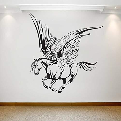 JHGJHGF Fantasie Wandtattoo Tier galoppieren Pferd Flügel Kunst Vinyl Fenster Aufkleber Kinder Schlafzimmer Künstler Studio Innendekoration