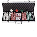 Display4top Texas Holdem Poker Chips Set with Aluminum Case ,2 Decks of Cards