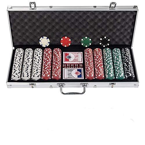 Display4top Pokerkoffer 500 Chips Laser Pokerchips Poker 12 Gramm , 2 Karten, Händler, Small Blind, Big Blind Tasten und 5 Würfel, mit Aluminium-Gehäuse