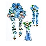 JZOON 髪飾り3点セット 成人式 七五三 浴衣 袴 着物 振袖 和装 つまみ細工 花 卒業式 結婚式 鈴付き 手作り 青C 4色全12選