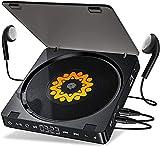 Gueray Reproductor de CD Portátil Batería Recargable de 1200 mAh Reproductor de CD Personal con Conectores Dobles para Auriculares de 3,5 mm y Dos Auriculares Botón Táctil Disco Walkman