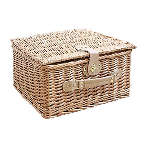 WM Homebase Aufbewahrungskorb Picknickkorb für 2 Personen aus Weide ohne Geschirr Set in Naturfarbe 42x32x22CM