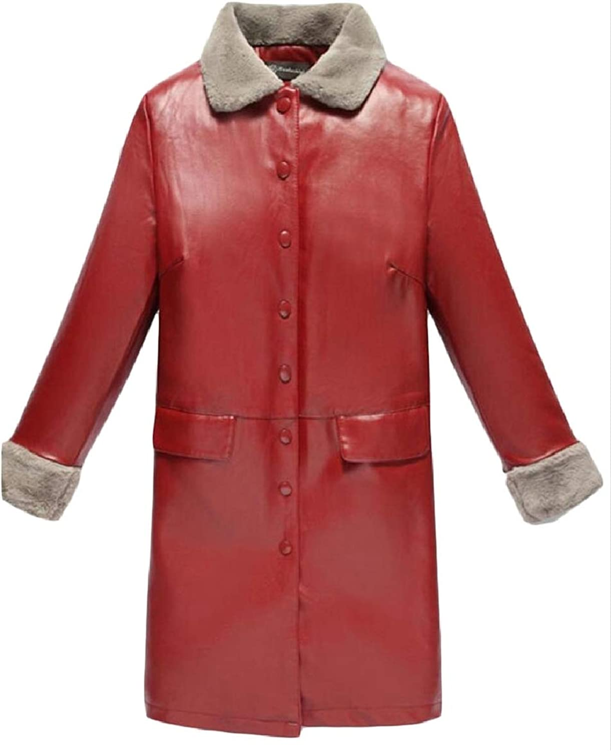 LEISHOP Women's Winter FauxLeather PU Fleece Single Breasted Trench Coat