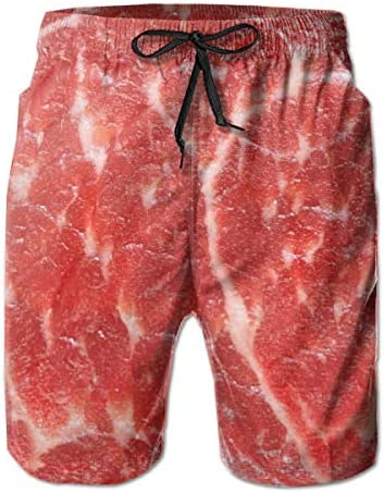 Quick Dry Men s Beach Shorts Meat Beef Mesh Lining Surfing Board Shorts Swim Trunks with Pockets product image
