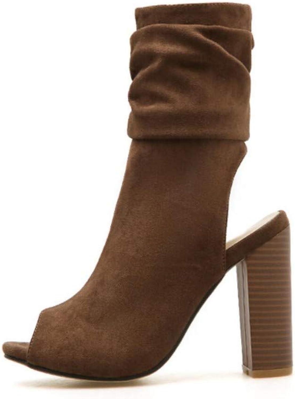 JQfashion Women's High Heel Fish Mouth Roman shoes Suede Booties