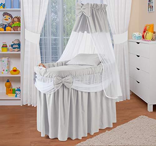 WALDIN Landau/berceaux pour bébé complet,6 modèles disponibles,Cadre/Roues non traitée, couleur du tissu gris