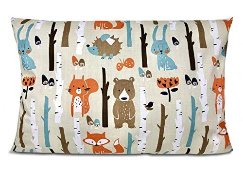 BALBINA Kinder Kissenbezug Kissenhülle Baumwolle Dekokissen Kinderzimmer (Wald beige, 40x60 cm)