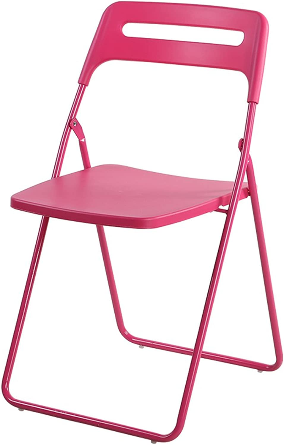 Folding Chair Portable Conference Chair Adult Dining Chair Student Plastic Stool Household Chair (color   Pink)