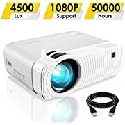 """Mini Projector, ELEPHAS 4500 Lumens Portable Projector Max 180"""" Display 50000 Hours Lamp Life LED Video Projector Support 1080P, Compatible with USB/HD/SD/AV/VGA for Home Theater (White)"""