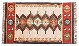 Jewel Fab Art Indischer Jut-Teppich, indischer Vintage-Teppich, Bodenmatte, handgewebt, Kelim-Teppich, handgefertigt, natürliche Jute, Dari-Gebetsmatte, Wohnzimmer, Juteteppich, 70% Jute & 30% Wolle