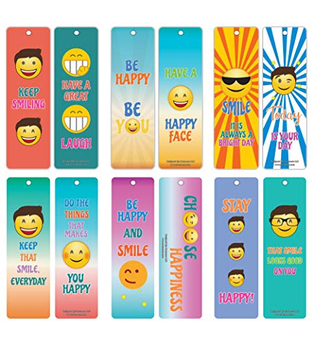 Creanoso Inspiring Smiley Happy Face Bookmarkers (30-Pack) – Stocking Stuffers Gift for Bibliophiles, Book Worms, Young Book Lovers – Party Supplies – Book Clubs Reading – Office Supplies