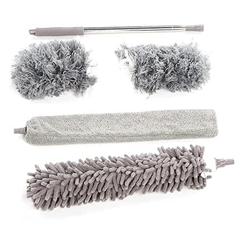 Plumero de plumas, retráctil y lavable, cepillo de polvo de mango largo, utilizado para limpiar techos altos, persianas, muebles, telarañas, gris