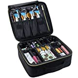 Travel Makeup Case,Chomeiu- Professional Cosmetic Makeup Bag Organizer Makeup Boxes With Compartments Neceser De Maquillaje(Black-M)