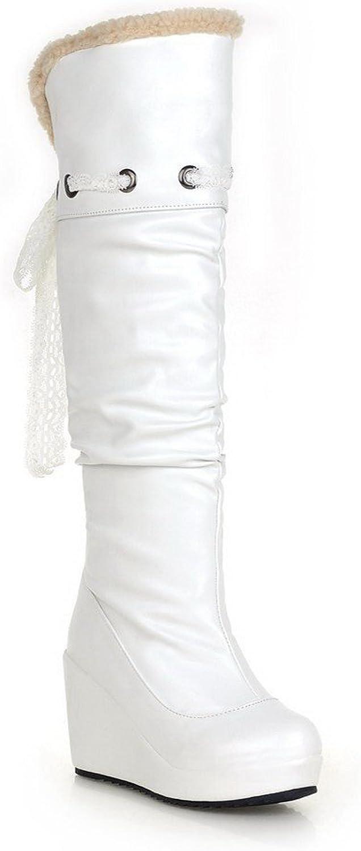 BalaMasa Womens High Heels High Top Solid White PU Snow Boots - 7 B(M) US