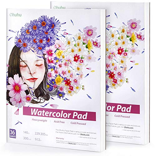2 Pack Watercolor Pad Sketchbooks,Ohuhu 9×12IN,140 LB/300 GSM Heavyweight Papers 36 Sheets/72 Pages,Glue-Bound,Watercolor Paper Pad for Marker,Acrylic,Watercolor,Pen,Pencil Painting Mixed Media Pad