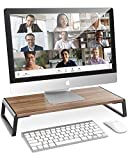 AboveTEK Monitor Stand Riser with Metal Feet for Computer Laptop iMac TV LCD Display Printer, Computer Riser with Desk Storage 20 x 9.45 inch Office Supplies Platform Save Space-Walnut