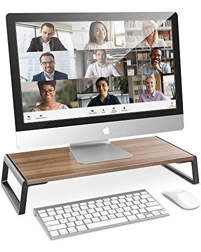 AboveTEK Monitor Stand Riser with Metal Feet for Computer Laptop iMac TV LCD Display Printer, Computer Riser with Desk Table Top Organizer 20 x 9.45 inch Sturdy Platform Save Space -Walnut
