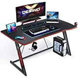 DESINO Gaming Desk 47 inch PC Computer Desk, Home Office Desk Gaming Table Z Shaped Gamer Workstation with Cup Holder and Headphone Hook, Black