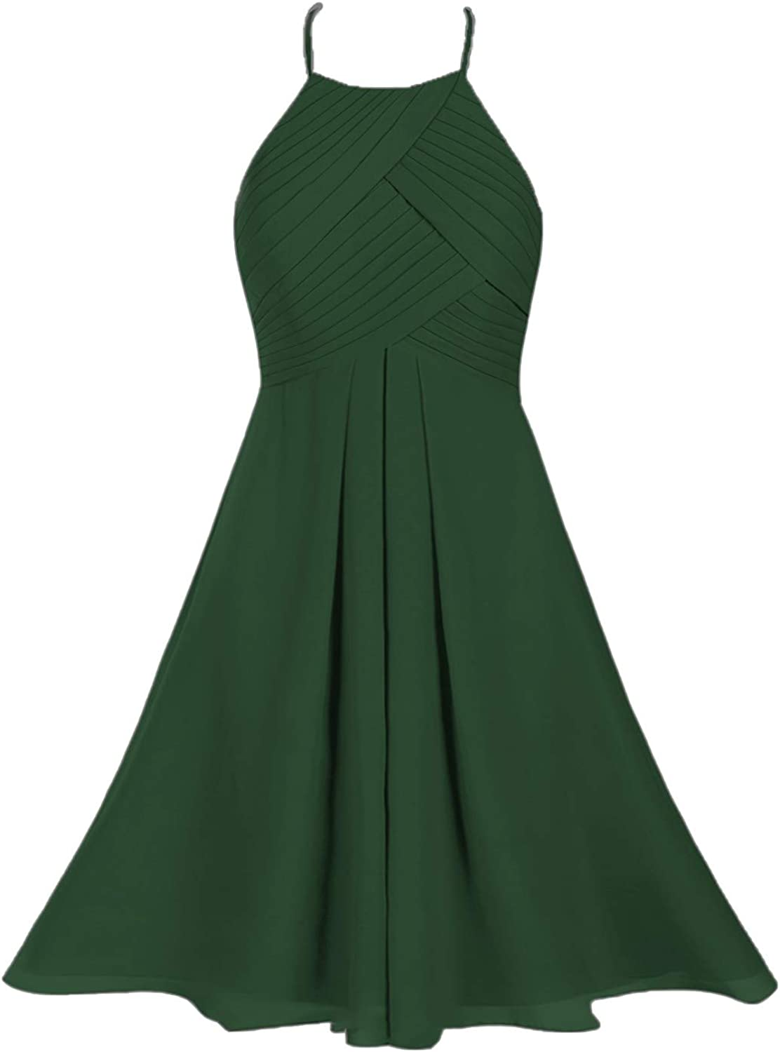 Women's Halter Knee Length Homecoming Dresses for Juniors Short Bridesmaid Dress Chiffon Prom Party Gown