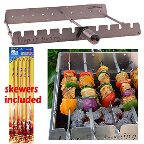 Keep on Turning 9 Skewer Automatic Rotating Rotisserie Grill Rack Accessory Attachment for Gas Grills Stainless Steel incl. 10 Skewers Barbecue Skewers