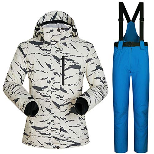 HXSKI Heren Ski Jassen, Winddichte Waterdichte Snowsuit Dik warm en Broeken Set Kleurrijke Bedrukte Ski Jas en Broeken