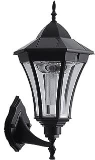 Wsxxn Simple Creative Solar Aluminum Black Outdoor Waterproof Wall Lamp LED Exterior Wall Courtyard Garden Glass Wall Light (Size : High 35cm)