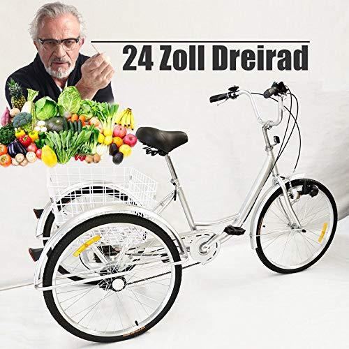 YUNRUX Dreirad 3 Rad Erwachsene Fahrrad mit Warenkorb 24 Zoll 6 Gänge Erwachsenendreirad Dreirad für Erwachsene Silber