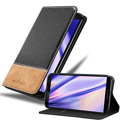 Cadorabo Hülle für Motorola Nexus 6 - Hülle in SCHWARZ BRAUN – Handyhülle mit Standfunktion und Kartenfach aus Einer Kunstlederkombi - Case Cover Schutzhülle Etui Tasche Book
