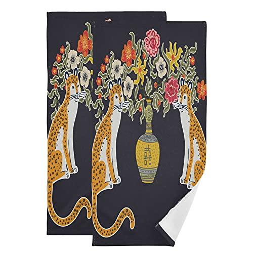 QMIN Toalla de mano de porcelana de estilo chino con flores de leopardo, toallas de mano suaves absorbentes, juego de 2 paños para cocina, baño, yoga, gimnasio, playa, 71,9 x 36,6 cm