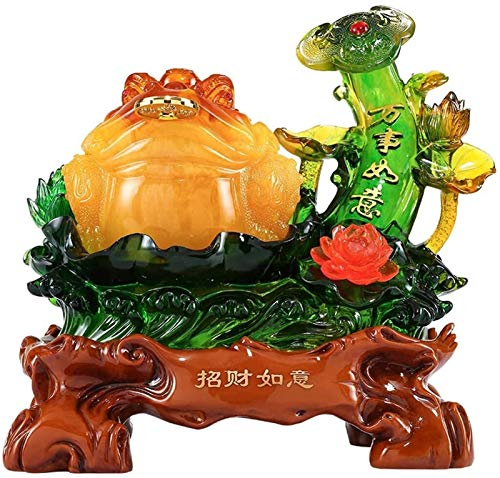 FLYAND Feng Shui Statue Feng Shui Resin Money Frog (Wealth Frog) On Base Decoration Best Housewarming Congratulatory Attract Wealth And Good Luck Feng Shui Decor Wealth Lucky Figurine