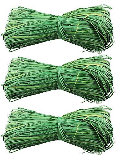 com-four® 3 Piezas Conjunto de Rafia - Bastón Natural para Hacer y Decorar - Bastón Artesanal en Verde (03 Piezas - Bast Verde)