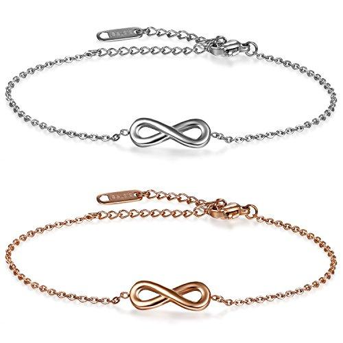 JewelryWe Schmuck 2 PCS Damen Armband Fußkette, Lieben Infinity Unendlichkeit Zeichen Charm Armreif Fußkettchen, Edelstahl, Silber Rose Gold