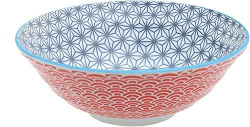 Star Wave Ramen - Bol para pasta (21 cm de diámetro, 1100 ml, porcelana), diseño japonés, multicolor