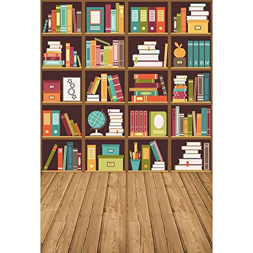 Haoyiyi 5x7ft Vintage Bookcase Photography Backdrop Bookshelf Folder Books Wooden Floor Online Teach Background for Kids Student Study Room School Library Collection Digital Video Photo Props
