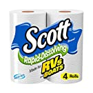 Scott Rapid Dissolving Toilet Paper, Bath Tissue for RVs and Boats, 4 Rolls (Pack of 12)