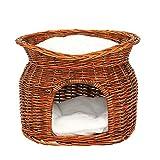 dibea Cesto vimini per gatti grotta per gatti cesto gatti cuscino 55x39x43 cm Marrone