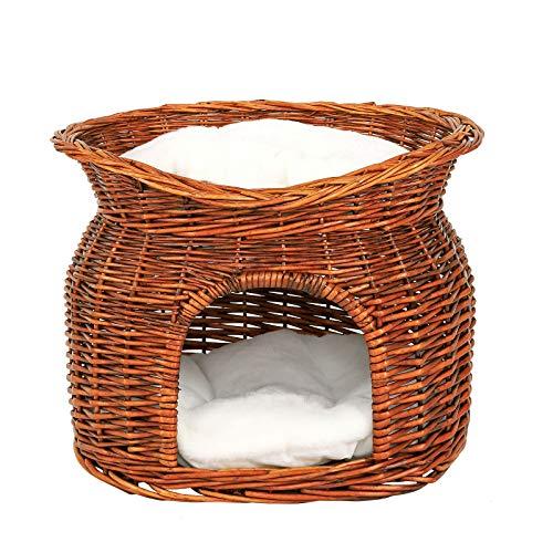 dibea Cesta de mimbre para gatos cesta para gatos cueva gatos 55x39x43 cm Marrón