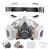Respirator Mask Reusable Half Face Cover Gas Mask with Safety Glasses, Paint Face Cover Face Shield with Filters for Painting, Welding, Polishing, Woodworking and Other Work Protection (Medium)