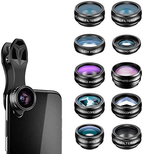 MWKLW Kit de Lentes de cámara para teléfono 10 en 1, Gran Angular/Macro/Ojo de pez/telefoto/CPL/Flujo/Radial/Filtro de Estrella/Lente de caleidoscopio, Compatible con iPhone/Samsung y la m