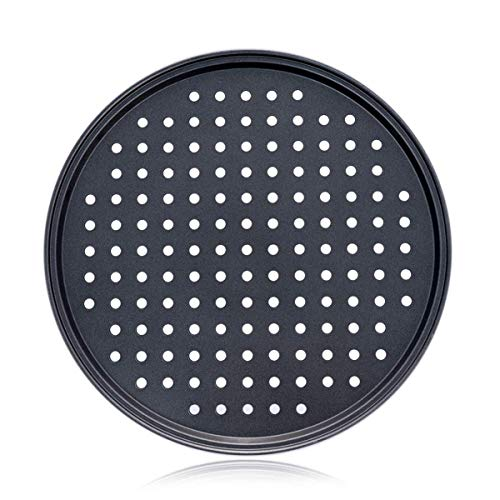 Alices 13 Inch 32CM Nonstick Carbon Steel Pizza Pan, Pizza pans,Pizza Tray Bakeware Perforated Round For Home Kitchen