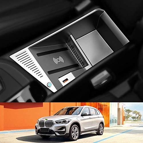 AWYLL Cargador de Coche inalámbrico para BMW X1 2016-2021, Almohadilla de Cargador de teléfono de Carga rápida de 15 W con USB QC3.0 para iPhone 12 Pro MAX Mini 11 / XS MAX/XR / 8, Galaxy S20 / S10