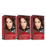 REVLON Colorsilk Beautiful Color Permanent Hair Color with 3D Gel Technology & Keratin, 100% Gray Coverage Hair Dye, 20 Brown Black, 4.4 Ounce (Pack of 3)
