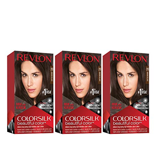 Revlon Colorsilk Beautiful Color, Permanent Hair Dye with Keratin, 100% Gray Coverage, Ammonia Free, 20 Black/Brown (Pack of 3)