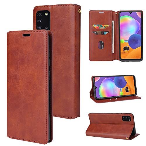 Snow Color Galaxy A41 Hülle, Premium Leder Tasche Flip Wallet Case [Standfunktion] [Kartenfächern] PU-Leder Schutzhülle Brieftasche Handyhülle für Samsung Galaxy A41 - COYKB020458 Braun