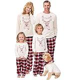 Pijamas Navidad Familia Conjunto Pijama Cuadros Navideñas Noel de Reno Niños Hombre Mujer Niña Chica Ropa de Noche Homewear Pijamas para Toda La Familia Sudadera Chándal Suéter de Navidad Blanco 2XL